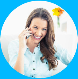 Smiling female using a phone