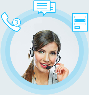Virtual receptionist surrounded by floating icons of a phone, sms message, and documents